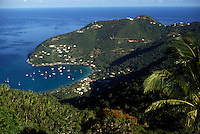 AJ2384, British Virgin Islands, Tortola, Caribbean, Virgin Islands, B.V.I., BVI, Scenic aerial view of Cane Garden Bay on the island of Tortola on the British Virgin Islands.