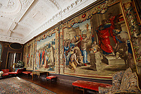 BNPS.co.uk (01202 558833)<br /> Pic: ZacharyCulpin/BNPS<br /> <br /> Renaissancespring clean<br /> <br /> The Tapestries are hung on the walls in the saloon of Forde Abbey.<br /> <br /> The annual spring clean of the Mortlake Tapestriesat Forde Abbey in Dorset.<br /> <br /> They took over 3 weeks to clean, a scaffolding platform was used to reach the top of the 18 foot historic works of art.<br /> <br /> The Tapestries are hung on the walls in The Saloon of Forde Abbey, They are woven from the cartoons painted by Renaissance master Raphael, they depict the scenes from the lives of St Peter and St Paul, as described in St John's Gospel and Acts of the Aspostles. <br /> <br /> The original tapestries were commissioned for the Sistine Chapel, in Rome, by Pope Julius II, and were first woven in Brussels in about 1520. This set was made in London at the Mortlake factory about hundred years later.<br /> <br /> Raphael's cartoons depicted in the tapestries include: The Miraculous Draft of Fishes, Panel from 'The Death of Ananias,' The Healing of the Lame Man, Christ's charge of St Peter and The Sacrifice at Lystra before St Paul and St. Barnabus.<br /> <br /> Forde Abbey is a former Cistercian monastery in West Dorset dating back to the early 12th century.