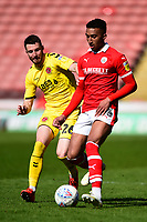 Barnsley's Jacob Brown vies for possession with Fleetwood Town's James Husband<br /> <br /> Photographer Richard Martin-Roberts/CameraSport<br /> <br /> The EFL Sky Bet League One - Barnsley v Fleetwood Town - Saturday 13th April 2019 - Oakwell - Barnsley<br /> <br /> World Copyright &not;&copy; 2019 CameraSport. All rights reserved. 43 Linden Ave. Countesthorpe. Leicester. England. LE8 5PG - Tel: +44 (0) 116 277 4147 - admin@camerasport.com - www.camerasport.com