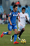 Getafe´s Sarabia (L) and Sevilla´s Banega during 2014-15 La Liga match at Alfonso Perez Coliseum stadium in Getafe, Spain. February 08, 2015. (ALTERPHOTOS/Victor Blanco)