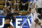 11 September 2015: Stanford's Brittany Howard (16). The Duke University Devils hosted the Stanford University Cardinal at Cameron Indoor Stadium in Durham, NC in a 2015 NCAA Division I Women's Volleyball contest. Stanford won the match 3-2 (17-25, 25-22, 17-25, 25-23, 10-15).