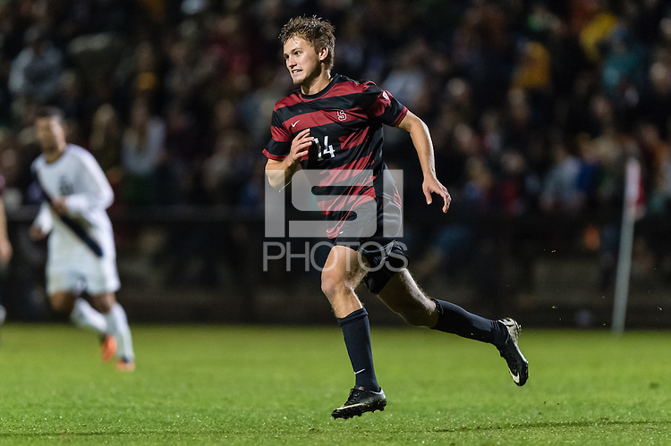 November 13, 2013:  Zach Batteer during the Stanford vs Cal men's soccer match in Stanford, California.  Stanford won 2-1 in overtime.