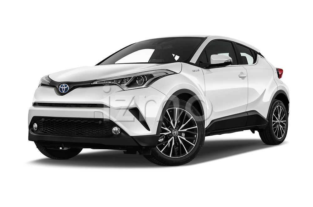 Stock pictures of low aggressive front three quarter view of a 2018 Toyota C-HR C-LUB 5 Door SUV