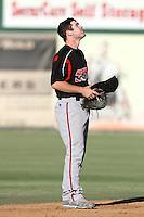 Casey McElroy #10 of the Lake Elsinore Storm during a game against the Inland Empire 66'ers at San Manuel Stadium on July 15, 2012 in San Bernardino, California. Inland Empire defeated Lake Elsinore 4-3. (Larry Goren/Four Seam Images)