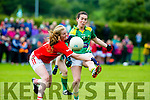 Sarah Houlihan Kerry gets her shot in under pressure from Roisn Phelan Cork during the Munster final in Killarney  Sunday evening