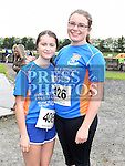 Niamh Weldon and Rosie Dunnill who took part in the Seamie Weldon memorial run at St. Mary's GAA club Ardee. Photo:Colin Bell/pressphotos.ie