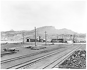 Construction of new loop in Durango yard.  Ballast on sout end.  Twin peak in background to left.  Car shop is in left background.<br /> D&amp;RGW  Durango, CO  Taken by Payne, Andy M. - 4/29/1968