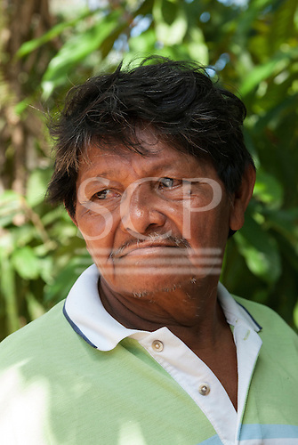 Pakissamba Village (Juruna), Xingu River, Para State, Brazil. Cacique Manuel Juruna. The Xingu River, which provides transport and fish for the Juruna, will be reduced to a trickl when the Belo Monte dam is built.