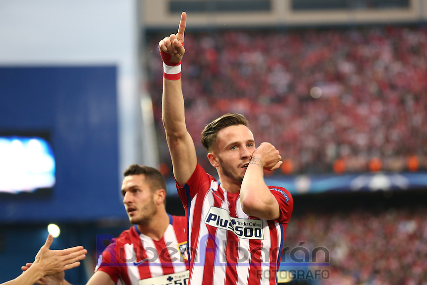 Atletico Madrid´s Spanish midfielder Saul celebrating after scoring