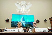 United States Secretary of Education Betsy Devos, left, testifies on her department's fiscal year 2020 budget before the US House Committee on Education and Labor on Capitol Hill in Washington, DC on April 10, 2019. Photo Credit: Stefani Reynolds/CNP/AdMedia