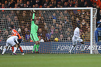 Bira Dembele of Barnet (right) scores his team's first goal of the game to make the score 1-1 during the Sky Bet League 2 match between Luton Town and Barnet at Kenilworth Road, Luton, England on 31 December 2016. Photo by David Horn.