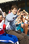 After leading the New York Giants to a 21-17 victory over the New England Patriots in Super Bowl XLVI, Eli Manning, the MVP of the game, went to Disney World for a parade in his honor. This was his second parade.