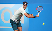 11.06.13 London, England. Juan Martin Del Potro in action against Xavier Malisse during the The Aegon Championships from the The Queen's Club in West Kensington.