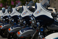 May 10, 2013  (Washington, DC)  Fairfax County, VA. police motorcycles parked during a ceremony at the Washington Area Law Enforcement Memorial.  (Photo by Don Baxter/Media Images International)