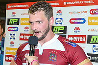 Picture by David Neilson/SWpix.com/PhotosportNZ - 10/02/2018 - Rugby League - Betfred Super League - Wigan Warriors v Hull FC  - WIN Stadium, Wollongong, Australia - Wigan captain Sean O'Loughlin is interviewed after the match.