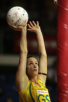 15.11.2007 Australian Sharelle McMahon in action during the Australia v Cook Islands match at the New World Netball World Champs held at Trusts Stadium Auckland New Zealand. Mandatory Photo Credit ©Michael Bradley.