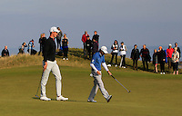 Gary Hurley (IRL) and Peter Uihlein (USA) on the 10th green during Round 3 of the 2015 Alfred Dunhill Links Championship at Kingsbarns in Scotland on 3/10/15.<br /> Picture: Thos Caffrey | Golffile