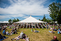 Tuesday 31 May 2016. Hay on Wye, UK<br /> Pictured: The green at hay <br /> Re: The 2016 Hay festival take place at Hay on Wye, Powys, Wales