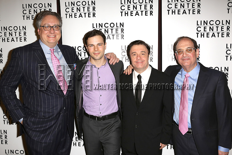 Douglas Carter Beane, Jonny Orsini, Nathan Lane, Lewis J. Stadlen attending the Broadway Opening Night After Party for The Lincoln Center Theater Production of 'The Nance' at the Mariott Marquee Hotel in New York City on 4/15/2013...