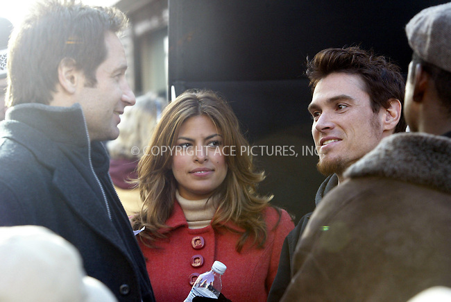 WWW.ACEPIXS.COM . . . . .  ....NEW YORK, DECEMBER 8, 2004....Billy Crudup, David Duchovny and Eva Mendes on the set of 'Trust the Man.'....Please byline: Ian Wingfield - ACE PICTURES..... *** ***..Ace Pictures, Inc:  ..Alecsey Boldeskul (646) 267-6913 ..Philip Vaughan (646) 769-0430..e-mail: info@acepixs.com..web: http://www.acepixs.com