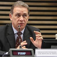 ATENCAO EDITOR: FOTO EMBARGADA PARA VEICULO INTERNACIONAL - SAO PAULO, SP, 10 DEZEMBRO 2012 - A INFLUENCIA DO BRASIL NO SISTEMA INTERNACIONAL SOFT-POWER - O embaixador Fernando Jose Marroni participou do debate sobre o soft power. A iniciativa, idealizada em conjunto com a Secretaria de Assuntos Estrategicos (SAE) da Presidencia da Republica, tem como objetivo a atuacao do Brasil no cenario internacional, com vistas a identificar a capacidade de o pais influenciar acoes politicas sem o uso da forca ou outra forma de coercao, porem lançando mao de estrategias de cooperacao - conceito conhecido como soft-power, na FIESP nessa terca, 11. (FOTO: LEVY RIBEIRO / BRAZIL PHOTO PRESS)..