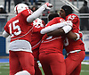 Freeport teammates celebrate after their 20-19 win over Floyd in the Class I Long Island Championship at Shuart Stadium in Hempstead on Saturday, Nov. 24, 2018.