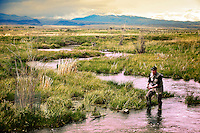 An angler fishes a spring creek tributary of the Beaverhead River near Dillon, Montana.