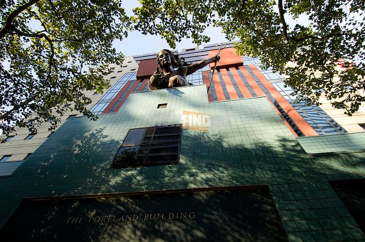 Upward view of the Bronze Portlandia Statue on the Portland Building, Oregon
