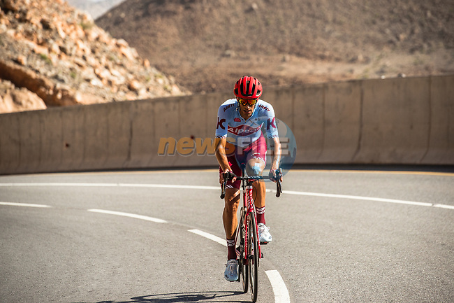 Reto Hollenstein (SUI) Team Katusha Alpecin climbs towards the finish of Stage 5 of the 10th Tour of Oman 2019, running 152km from Samayil to Jabal Al Akhdhar (Green Mountain), Oman. 20th February 2019.<br /> Picture: ASO/Kåre Dehlie Thorstad | Cyclefile<br /> All photos usage must carry mandatory copyright credit (© Cyclefile | ASO/Kåre Dehlie Thorstad)