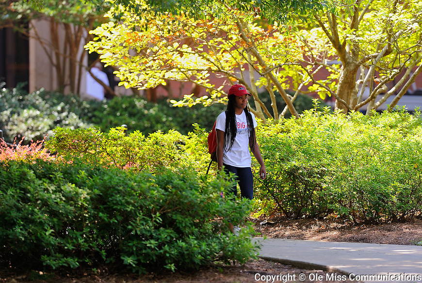 Jada Bates, a sophomore psychology major, walks across campus between classes. Photo by Thomas Graning/Ole Miss Communications