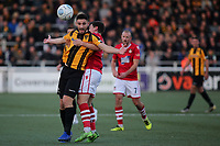 James Jennings of Wrexham prevents Maidstone's Jake Cassidy from getting to the ball during Maidstone United vs Wrexham, Vanarama National League Football at the Gallagher Stadium on 17th November 2018