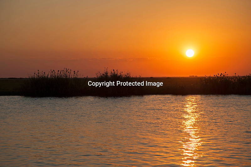 Sunset on the Chobe River in Chobe National Park in Botswana in Africa