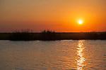 Sunset on the Chobe River in Chobe National Park in Botswana in Africa