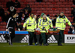 Robert Harris of Sheffield Utd is stretchered off the pitch - FA Cup Second round - Sheffield Utd vs Oldham Athletic - Bramall Lane Stadium - Sheffield - England - 5th December 2015 - Picture Simon Bellis/Sportimage