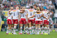 Harlequins team talk during the Premiership Rugby Round 1 match between London Irish and Harlequins at Twickenham Stadium on Saturday 6th September 2014 (Photo by Rob Munro)