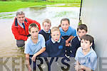 Principal of O'Brennan  National School in Kielduff, Mike Sweeney, with pupils after the school was flooded during Thursday's rain. .Front L- R Miche?al Riedy, Brian Lonergan, Ryan O'Sullivan.Back L-R Gary Horan, Aofie Brick and David Long