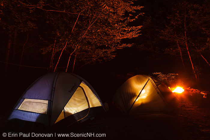 Tents in a White Mountain National Forest New H&shire c&ground during the night with c& & White Mountain National Forest Camping | ScenicNH Photography LLC