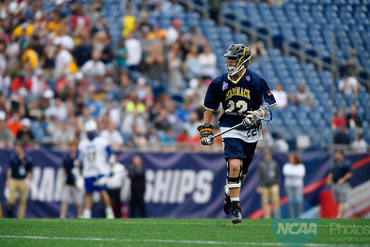 FOXBORO, MA - MAY 28: Brendan V. Smith (22) of Merrimack College with the ball during the Division II Men's Lacrosse Championship held at Gillette Stadium on May 28, 2017 in Foxboro, Massachusetts. (Photo by Larry French/NCAA Photos via Getty Images)