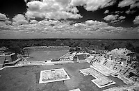 View of the Plaza Principal from the top of the Edificio de los Cinco Pisos (Building of the Five Storeys) at the Mayan ruins of Edzna, Campeche, Mexico