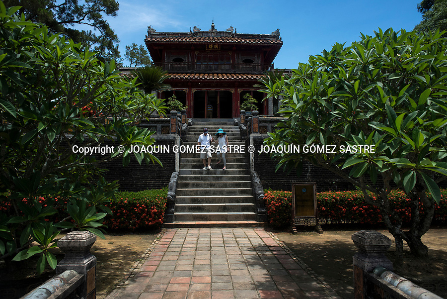 A couple of tourists stroll through the imperial tomb of Minh Mang devoted entirely to painting, poetry and philosophy, in Hue (Vietnam)<br /> HUE-VIETNAM