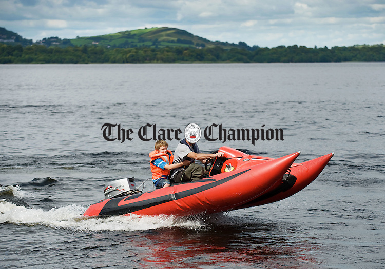 Bryan Walsh and his son Bryan of Murroe having fun on their Tomcat at Two Mile gate Killaloe. Photograph by John Kelly.