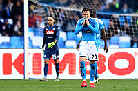 9th February 2020; Stadio San Paolo, Naples, Campania, Italy; Serie A Football, Napoli versus Lecce; Piotr Zielinski of Napoli disappointed as his team fall further behind