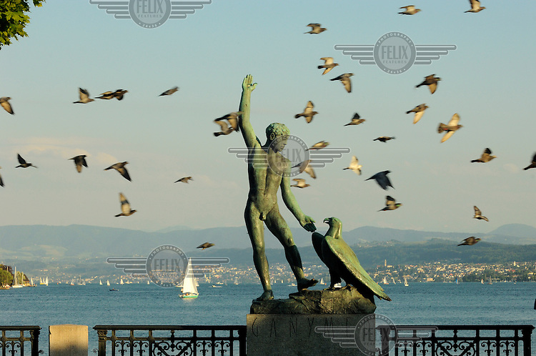 Statue on Zurich's waterfront of Ganymede, who in Greek mythology was seduced by Zeus disguised as an eagle. The statue was erected as long ago as 1952, and is a gay emblem of the city.