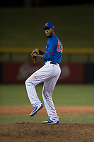 AZL Cubs relief pitcher Ivan Medina (63) delivers a pitch during an Arizona League game against the AZL Brewers at Sloan Park on June 29, 2018 in Mesa, Arizona. The AZL Cubs 1 defeated the AZL Brewers 7-1. (Zachary Lucy/Four Seam Images)