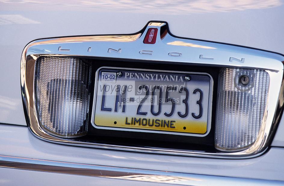 Amérique/Amérique du Nord/USA/Etats-Unis/Vallée du Delaware/Pennsylvanie/Philadelphie : Plaque d'immatriculation d'un voiture de l'état de Pennsylvanie