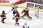 ST PAUL, MN - APRIL 7: Hunter Shepard #32 of the Minnesota-Duluth Bulldogs makes a save against the Notre Dame Fighting Irish during the Division I Men's Ice Hockey Semifinals held at the Xcel Energy Center on April 7, 2018 in St Paul, Minnesota. (Photo by Carlos Gonzalez/NCAA Photos via Getty Images)