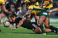 Theresa Kirkpatrick scores during the Laurie O'Reilly Memorial Trophy international women's rugby match between the New Zealand Black Ferns and Australia Wallaroos at Eden Park in Auckland, New Zealand on Saturday 25 August 2018. Photo: Simon Watts / lintottphoto.co.nz