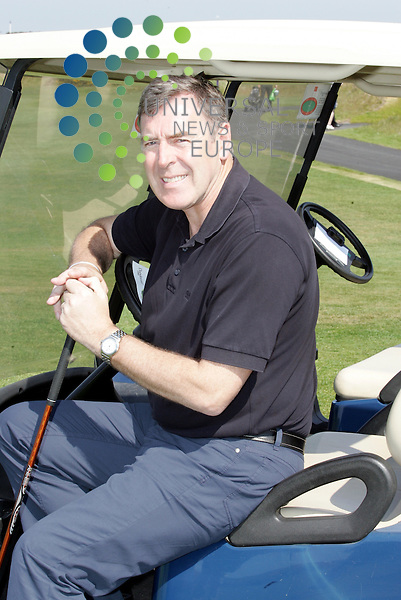 Pat Bonor in golf cart.Tommy Burns Masters golf fund raisin . tournament in aid of the Tommy Burns Skin Cancer Trust played over the Dundonald links.<br />