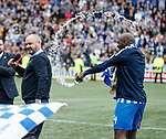19.05.2019 Kilmarnock v Rangers: Youssouf Mulumbu soaks Steve Clake during his speech to the fans