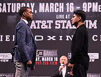 LOS ANGELES - FEBRUARY 16: Errol Spence Jr. and Mikey Garcia attend the Los Angeles press conference for their March 16 Fox Sports PBC PPV fight on February 16, 2019 in Los Angeles, California. The March 16 fight will be at the AT&T Stadium in Dallas, Texas. (Photo by Frank Micelotta/Fox Sports/PictureGroup)